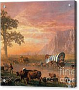 Emigrants Crossing The Plains Acrylic Print by Photo Researchers