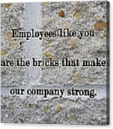 Employee Service Anniversary Thank You Card - Cement Wall Acrylic Print