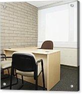 Empty Desk In An Office Acrylic Print by Skip Nall
