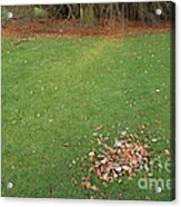 Empty Lawn With A Little Heap Of Leaves Scraped Together Acrylic Print
