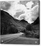 Empty Main Road Through Glencoe Highland Scotland Uk Acrylic Print by Joe Fox