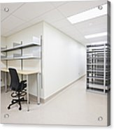 Empty Metal Shelves And Workstations Acrylic Print