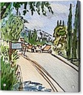 Empty Road Sketchbook Project Down My Street Acrylic Print by Irina Sztukowski