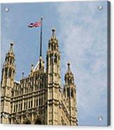 England, London, Union Flag Flown On Houses Of Parliament, Low Angle Acrylic Print