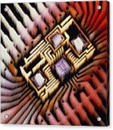 Enhanced Macrophoto Of A Hybrid Integrated Circuit Acrylic Print
