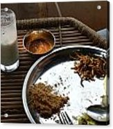 Enjoying A Plate Of Rajasthani Food On A Steel Plate On A Bamboo Table Acrylic Print