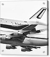Enterprise Shuttle Nyc -black And White  Acrylic Print