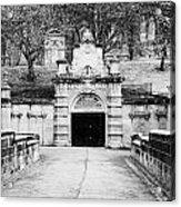 entrance bridge and ornate tunnel to Glasgow necropolis cemetery Scotland UK Acrylic Print