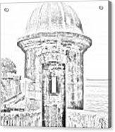 Entrance To Sentry Tower Castillo San Felipe Del Morro Fortress San Juan Puerto Rico Bw Line Art Acrylic Print