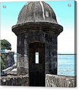 Entrance To Sentry Tower Castillo San Felipe Del Morro Fortress San Juan Puerto Rico Poster Edges Acrylic Print by Shawn O'Brien
