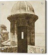 Entrance To Sentry Tower Castillo San Felipe Del Morro Fortress San Juan Puerto Rico Vintage Acrylic Print