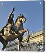 Equestrain Statue Of Emperor Marcus Aurelius In Piazza Del Campidoglio.capitoline Hill. Rome. Italy. Acrylic Print by Bernard Jaubert