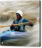 Eric Brown Paddling The Whitewater Acrylic Print