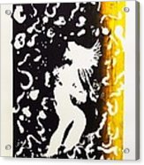 Erotic Scapegoat From Azazel Hell Satan Devil In Purple And Yellow Serigraph Swirls Holding Breasts Acrylic Print