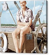 Errol Flynn Relaxing On His Yacht, Ca Acrylic Print