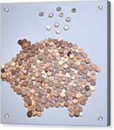 Euro Coins Falling Into A Piggy Bank Made From Arranged European Coins Acrylic Print by Larry Washburn