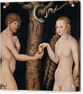 Eve Offering The Apple To Adam In The Garden Of Eden Acrylic Print