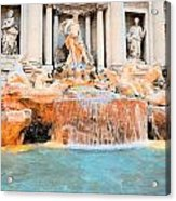 Evening At Trevi Fountain Acrylic Print