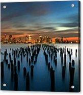 Evening Sky Over The Hudson River Acrylic Print