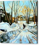 Evening Winter Walk Streets Of Montreal After The Snowstorm Acrylic Print