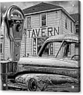 Expired A Black And White Photograph Of A Tavern Parking Meters And Vintage Junk Auto Acrylic Print