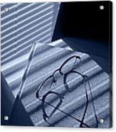 Eye Glasses Book And Venetian Blind In Blue Acrylic Print