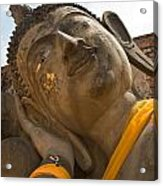 Face Of A Reclining Buddha Acrylic Print