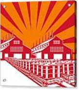 Factory Building Oil Drum Barrel Retro Acrylic Print by Aloysius Patrimonio