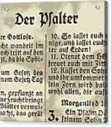 Faded Old German Bible Page Acrylic Print