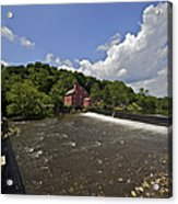 Faded Red Water Mill On The Dam Of The Raritan River Acrylic Print