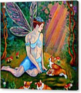 Fae And Corgi Pups Acrylic Print by Lyn Cook