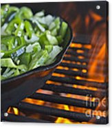 Fajita Cast Iron Skillet With Green Peppers Sizzling Hot Acrylic Print