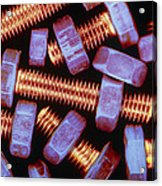False-coloured Photograph Of Nuts And Bolts Acrylic Print