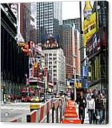 Amidst Color And Construction In Times Square Acrylic Print