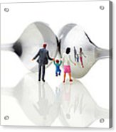 Family In Front Of Spoon Distoring Mirrors II Acrylic Print