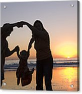 Family Portrait On The Beach At Sunset Acrylic Print