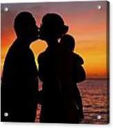 Family Silhouettes At Sunset Acrylic Print