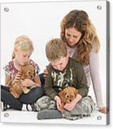 Family With Cockerpoo Pups Acrylic Print
