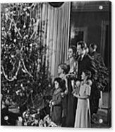 Family With Three Children (4-9) Standing At Christmas Tree, (b&w) Acrylic Print