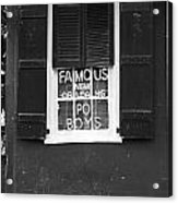 Famous New Orleans Po Boys Neon Window Sign Black And White Accented Edges Digital Art Acrylic Print