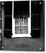 Famous New Orleans Po Boys Neon Window Sign Black And White Conte Crayon Digital Art Acrylic Print