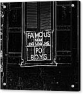 Famous New Orleans Po Boys Neon Window Sign Black And White Glowing Edges Digital Art Acrylic Print