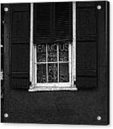 Famous New Orleans Po Boys Neon Window Sign Black And White Poster Edges Digital Art Acrylic Print
