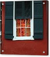 Famous New Orleans Po Boys Red Neon Window Sign  Acrylic Print