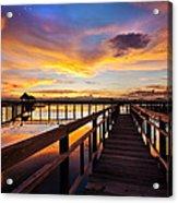 Fantastic Sky On Wood Bridge Acrylic Print by Arthit Somsakul