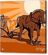 Farmer And Horse Plowing Farm Retro Acrylic Print by Aloysius Patrimonio