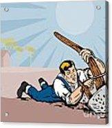 Farmer Dragged Plow Plowing Farm Retro Acrylic Print by Aloysius Patrimonio