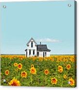 Farmhouse In A Field Of Sunflowers Acrylic Print