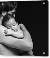 Father Holding His Newborn Baby Acrylic Print by Pavlo Kolotenko