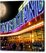 Faux Moon At The Staten Island Ferry Acrylic Print
